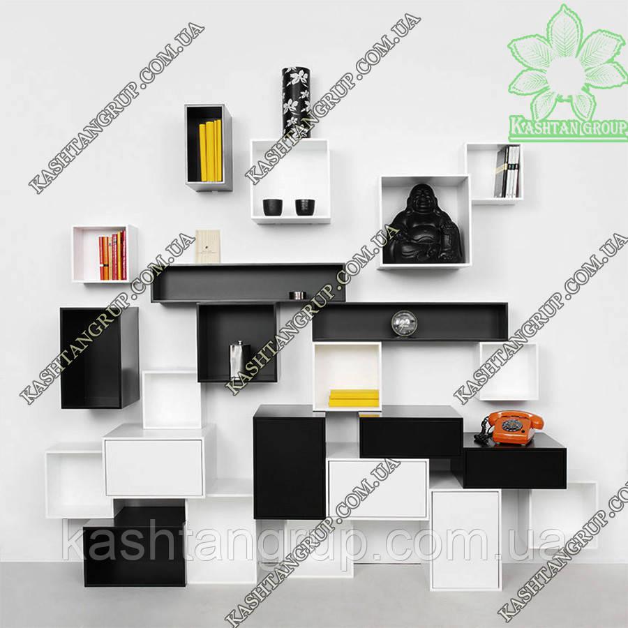 Модульная стеллажная система черного-белого цвета