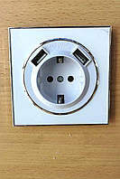 Розетка одинарная с USB зарядкой белая Laura Right Hausen HN-015241