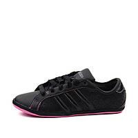 Кроссовки женские Neo ADIDAS derby U46222 (черные, перфорированная кожа, повседневные, летние, бренд адидас)