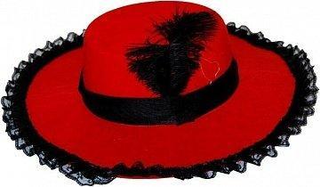 Шляпа с пером и кружевом Миледи(красная)