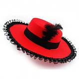 Шляпа с пером и кружевом Миледи(красная), фото 2