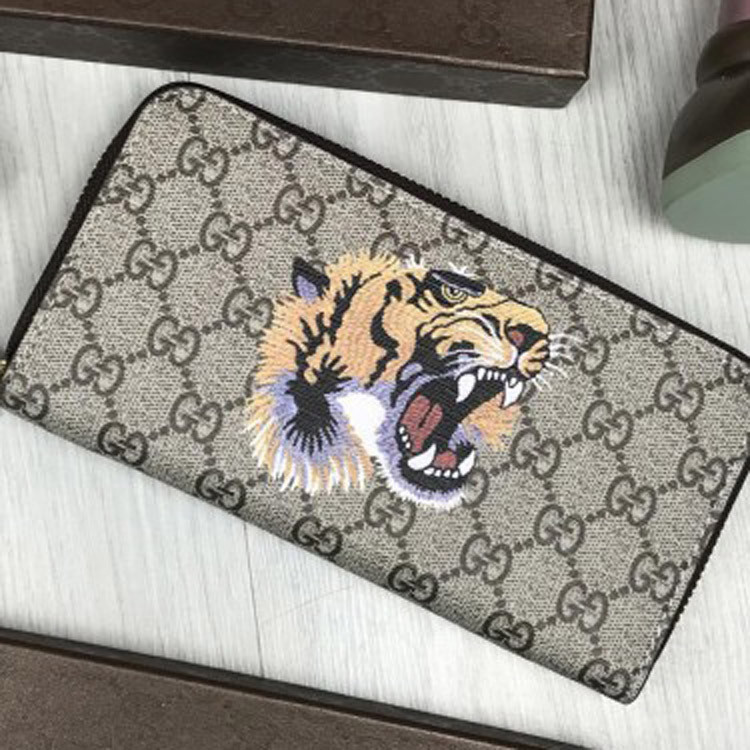 Кошелек Gucci GG канва тигр бежевый клатч на молнии змейке мужской женский с тигром кожзам Гуччи люкс реплика