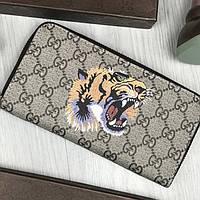 Кошелек Gucci GG канва тигр бежевый клатч на молнии змейке мужской женский с тигром кожзам Гуччи люкс реплика, фото 1
