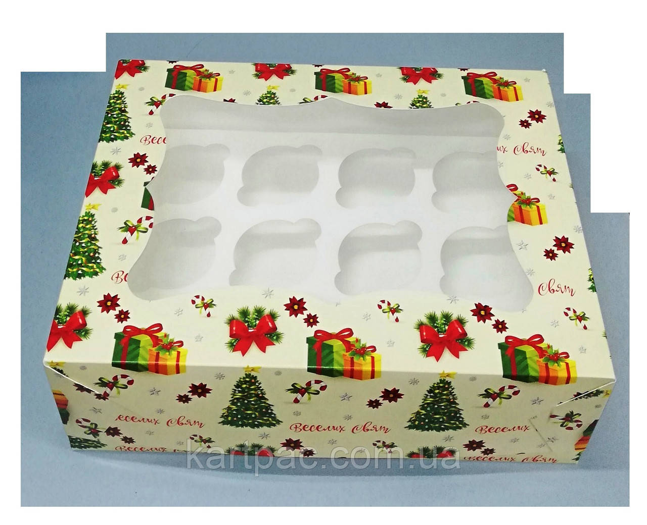 Коробка з віконцем для 12 кексів 330х255х110