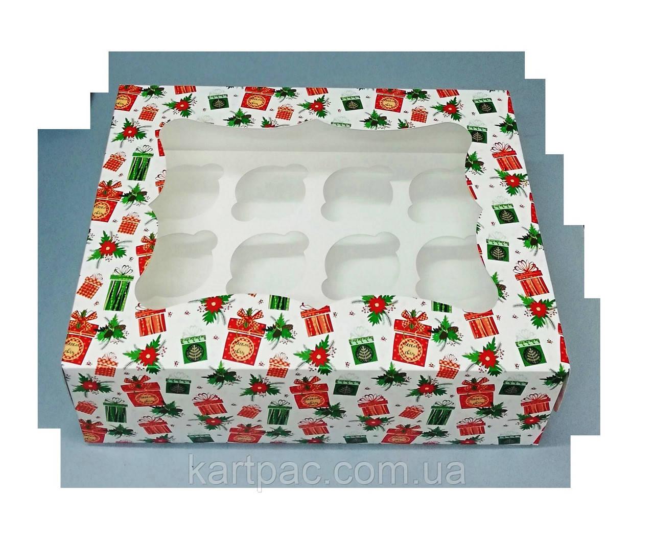 Подарункова упаковка для 12 кексів 330х255х110 (з віконцем)