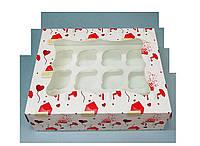 Коробка для 12 кексов 330х255х110 (с окошком и принтом письмо)
