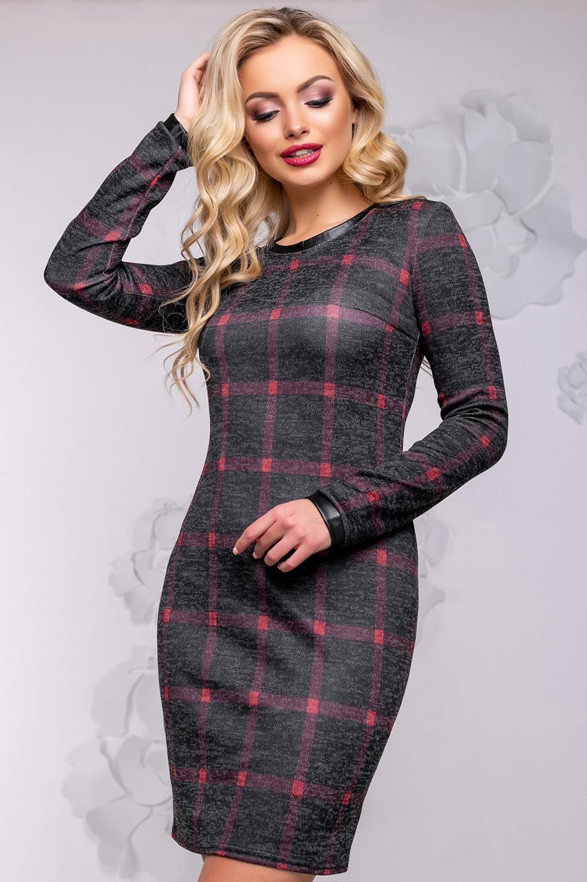 b69c36f09480aae Демисезонное платье футляр в клетку с длинным рукавом 42-50 размера черное  - 💎TM