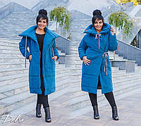Пальто батал ,стильная модель на завязках(2 цвета)А4685С498, фото 1