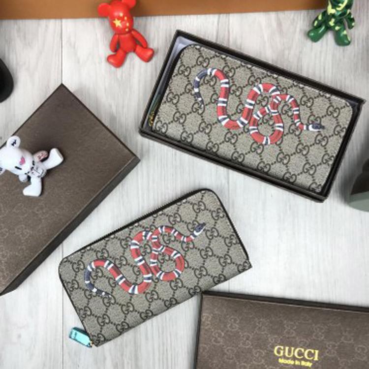 Кошелек Gucci GG принт бежевый клатч с круговой молнией мужской женский портмоне с змеей эко-кожа Гучи реплика