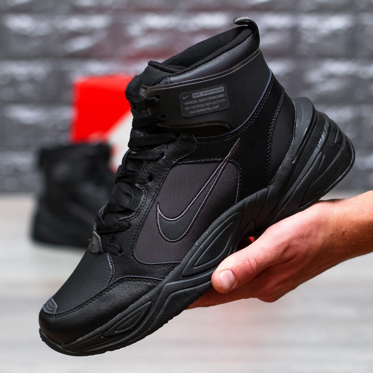 """Зимние кроссовки Nike M2K Tekno Mid """"Black"""" (Черные)"""