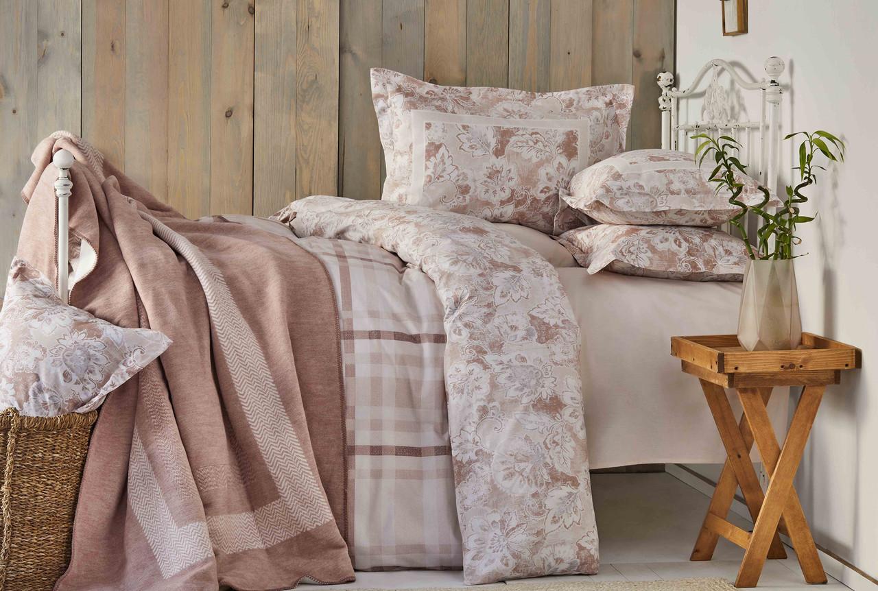 Набор постельное белье с покрывалом Karaca Home - Plaid pudra 2019-1 пудра евро