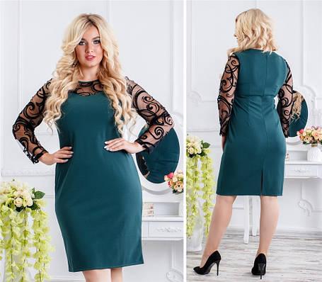 Роскошное женское платье с сеточкой Бордовое. (2 цвета) Р-ры: 48-54. (138)944.   , фото 2