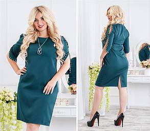 Эффектное женское платье с жемчугом Синее. (3 цвета) Р-ры: 48-54. (138)936. , фото 2