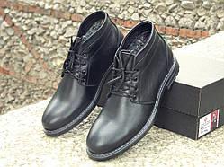 Мужские кожаные ботинки-дезерты черные с мехом 626
