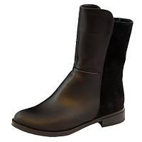 Ботинки комбинированные демисезонные на маленьком каблуке, из натуральной кожи и замши черного цвета