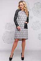 Красивое ангоровое платье трапеция с люрексом и кружевными рукавами 42-50 размера серое