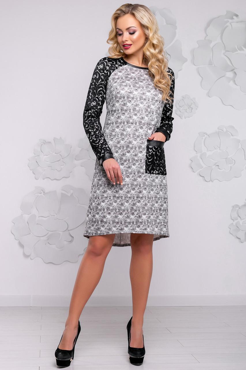 Красивое ангоровое платье трапеция с люрексом и кружевными рукавами 42-50  размера серое 02e620e24367d