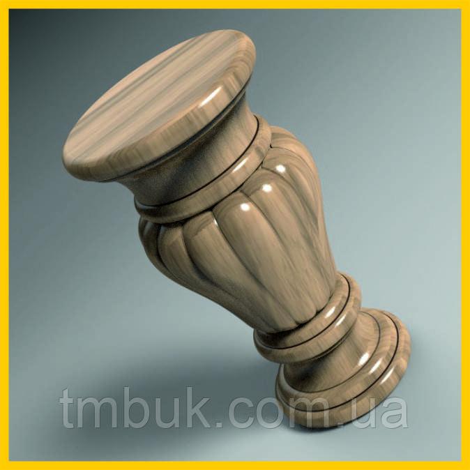 Точеная из дерева ножка круглая c вертикальными валиками. Для мягкой мебели, тумб и кресел. 150 мм