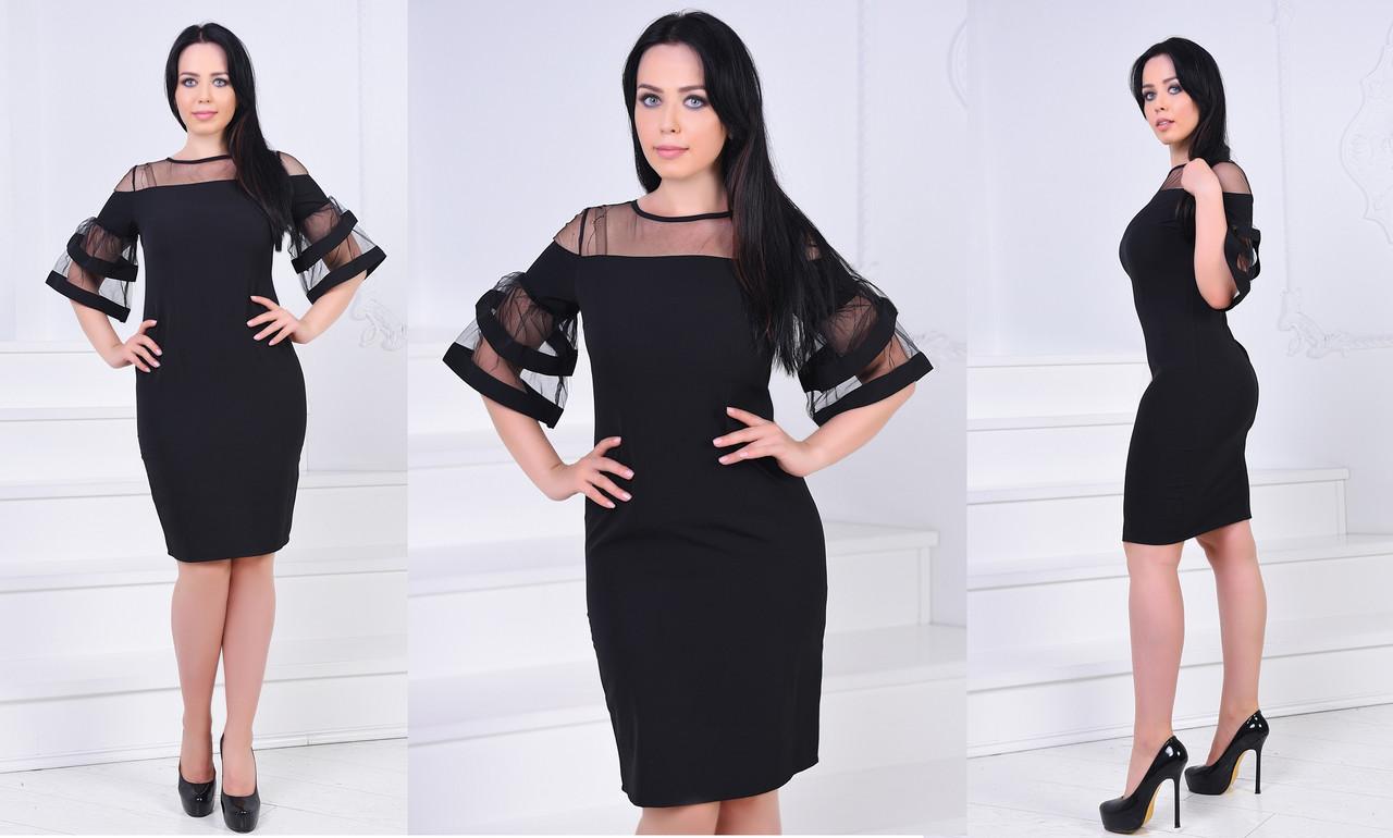 Платье вставка сетка БАТАЛ  757021