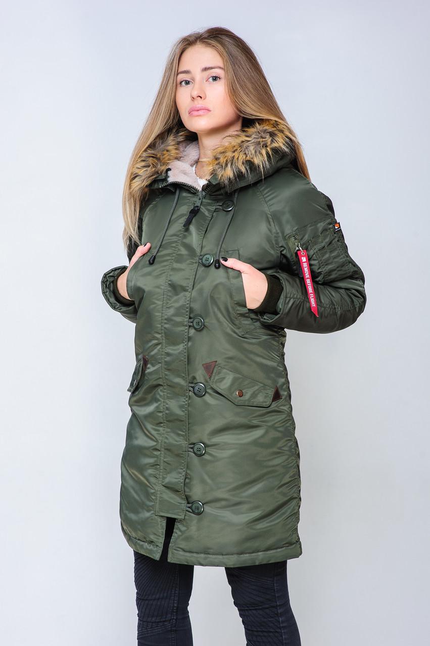 0c1daf72c7e Женская зимняя куртка парка аляска цвета хаки от Olymp