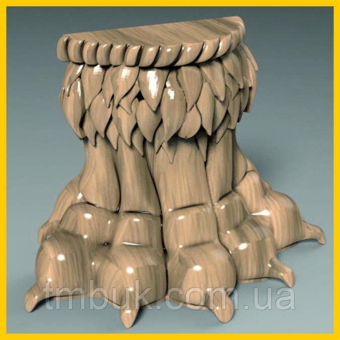 Резная ножка Львиная лапа в стиле Ампир. Дерево ясень. От производителя. 110 мм