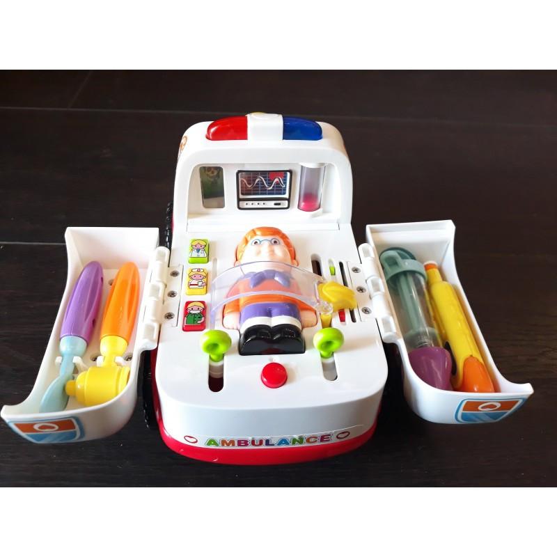 Детская игрушка Скорая помощь HOLA 836 развивающая с инструментом маленький доктор, музыкальная с световыми эффектами