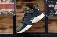 """Чоловічі кросівки репліка Nike Huarache X Acronym MID City Leather """"Haki/Black"""", фото 1"""