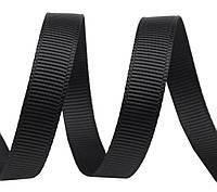 Репсовая лента  черная 7 мм