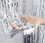 Дождик для фотозоны серебристый - (высота 1 метр, ширина 1 метр), двухсторонний, фото 2