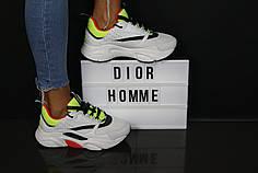 Стильные женские кроссовки Dior Homme белые топ реплика