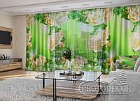 """3D - Фото Шторы и тюль """"Розы в орнаменте"""" (шторы 2,5м*2,9м, тюль 2,5м*3,0м)"""