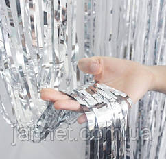 Дождик для фотозоны серебро (высота 3м, ширина 1м), двухсторонний