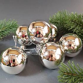 Набор серебряных глянцевых шаров 6 шт. Диаметр 5 см.