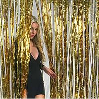 Дождик новогодний золотой для фотозоны (высота 3м, ширина 1м), двухсторонний