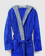Халат махровый мужской длинный синий с капюшоном и карманами