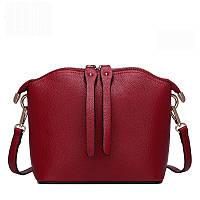 Женская сумка средняя кожаная цвета бордо , фото 1