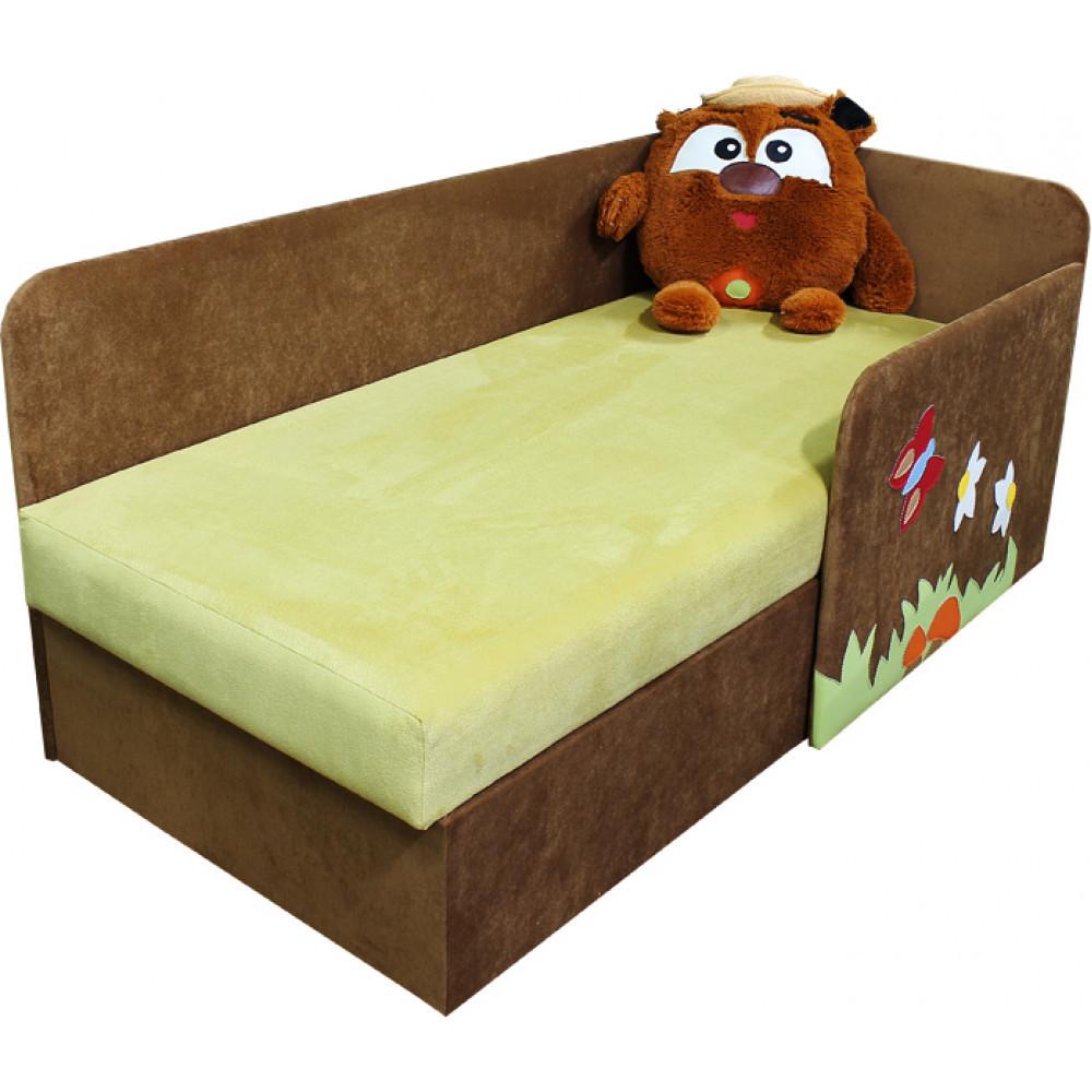 Дитячий диванчик ліжечко Ribeka Смішарик 14M03-Р (правий) Коричневий/зелений