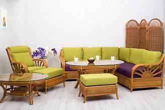 Комплект мебели CRUZO для гостиной с угловым диваном Аскания натуральный ротанг d0030