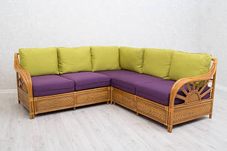 Кутовий диван CRUZO Асканія натуральний ротанг королівський дуб d0028