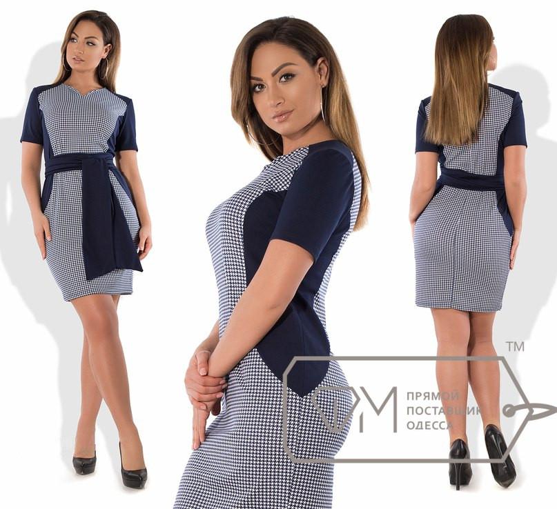Темно-синее платье в гусиную лапку