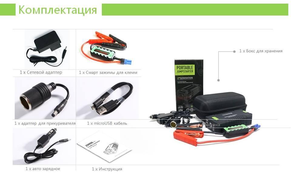 Зарядно-пусковое устройство портативное SMARTBUSTER T-242, 1000 А, 20000 mAh, гарантия 1 год