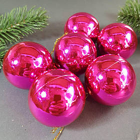 Набор розовых глянцевых шаров 6 шт. Диаметр 5 см.