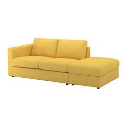 Трехместный диван IKEA VIMLE с открытой стороной Orrsta желтый 492.113.60