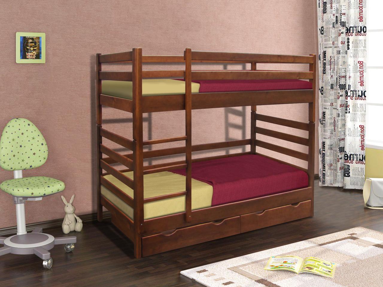 Кровать двух ярусная Засоня (Темный Орех) (Сосна)