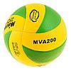 М'яч волейбольний Клеєний дублікат PVC Mikasa MVA200-2018G 004 зелений з жовтим, фото 2