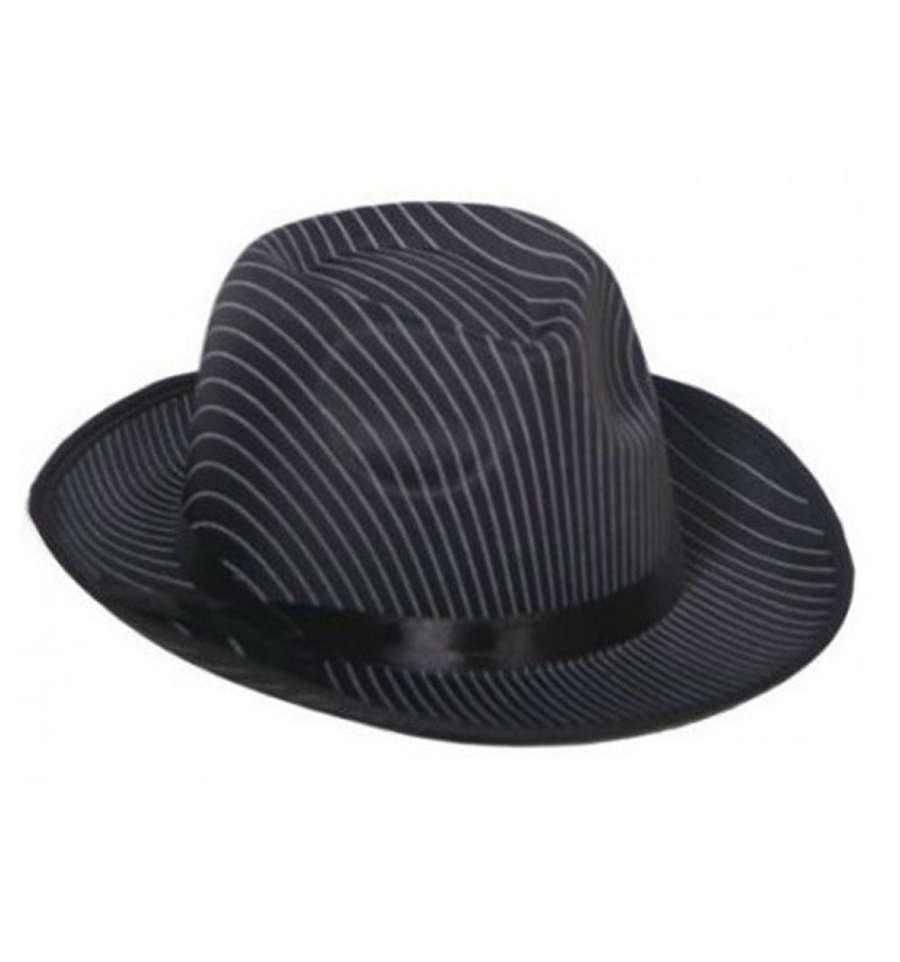 Шляпа Гангстера в полоску черная