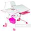 Детский стол-трансформер FunDesk Amare Pink с выдвижным  ящиком, фото 4