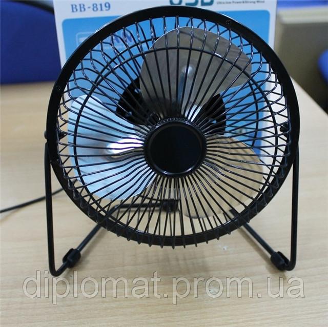 Настольный вентилятор большой 212х107х203мм, Quat usb (металлический корпус, металлические лопасти)