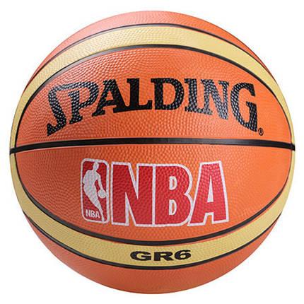 Мяч баскетбольный резиновый Spalding оранж, размер 6, полоса, фото 2