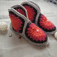Домашние ботиночки-угги из шерстяной пряжи ручная работа 38 размер